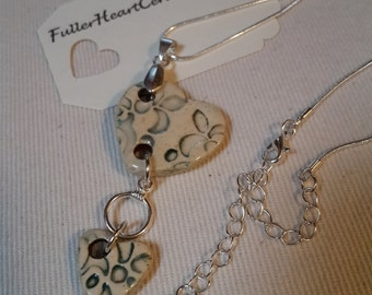 Ceramic Heart Necklace with attached small ceramic heart