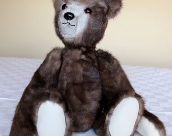 Lovable OOAK Hand Crafted Mink Teddy Bear from Re-purposed Fur Coat
