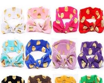 Baby Headband with Gold Polka Dots