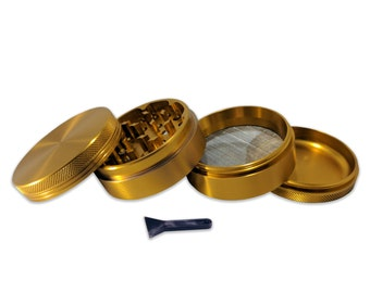 """Gold 4 Piece 2.5"""" Weed Grinder - Comes with Travel Pouch and Kief Scraper - Made with Anodized Aluminum"""