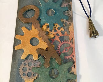 Handmade Gift Tag * Tim Holtz Inspired * Gadget Gears * Heavy Chipboard with Assorted Gears * All Occassion * Industrial * Steam-Punk