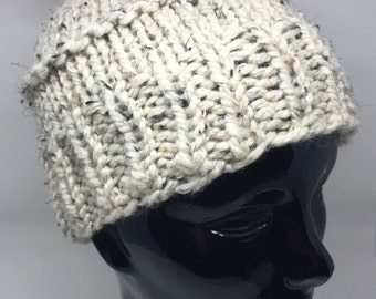 Oatmeal heather winter pompom hat. Adult sized fits most