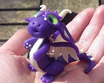 Polymer clay dragon, miniature, purple and pearl white.