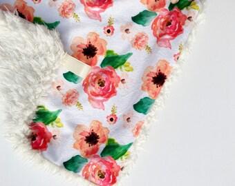 Floral Dreams White Lovey, Flower baby blanket, Spring girl lovey, Baby girl Blanket, Flower nursery blanket
