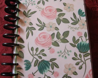 REVERSIBLE Floral Rose / bonjour French Script  Planner Cover / Happy Planner 9 hole