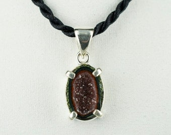 Druse Amethsyt with Agate  Pendant ---- 925 Sterling Silver