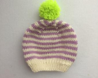 "Lavender ""Lu"" Striped Baby Hat: 0-6 months"