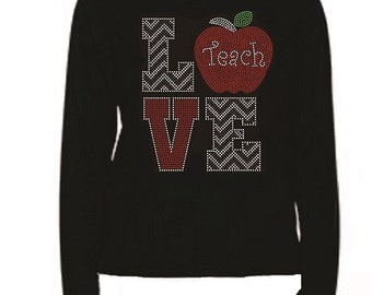 School Apple Teach Chevron Love Rhinestone Ladies T Shirt                                    LR 993O