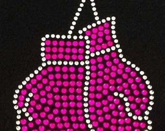 Rhinestone Breast Cancer Boxing Gloves  Ladies T Shirt or DIY Iron On Transfer                    KSN9