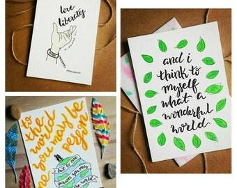 SET OF 3 - A Wonderful World Watercolor Handmade Motivational Notecards