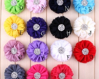 "2.8"" 15 Colors Beautiful Chiffon Metal Alloy Button Flower Accessories For Baby Fluffy Ruffled Flower For Hair Clips"