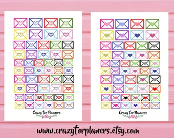 Mail Letter Heart Printable Planner Stickers, Cut Files, Instant Download, Silhouette Cameo, Planner Stickers, Functional Stickers, Digital
