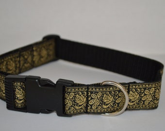 "Collar design ""golden leaves"" hand-crafted adjustable 25 mm produced,"