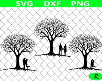Tree Silhouette SVG bundle, Tree SVG Cutting Templates, married couple, Family Tree svg, wedding svg, svg files for silhouette, cricut