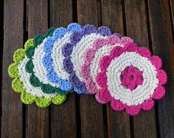 Crochet Flower Coasters (Set of 6)