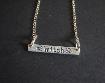 Silver tone Witch necklace