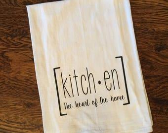 Kitchen Heart of the Home Tea Towel, Flour Sack Towel, Kitchen Towel, Gift