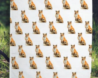 Fox Pattern Tea Towel
