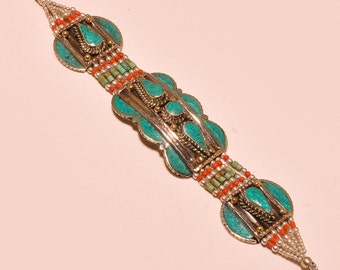 Tibet Jewellry,Gypsy Braceletf,Beaded Trible Style Turquoise & Coral Friendship Gift