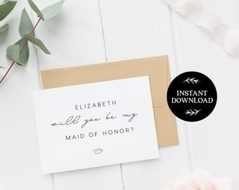 Will You Be My Bridesmaid Printable Card, INSTANT DOWNLOAD DIY Ask to be Bridesmaid, Maid of Honor, Flower Girl, pdf editable Maia