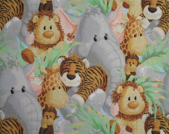Jungle Animal Fabric Elephant Giraffe By The Yard 36 Inches Long
