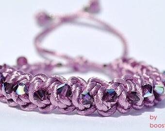 Swarovski crystals satin bracelet, crochet macrame bracelet,