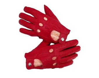 Sheepskin Genuine Red leather Driving  Gloves