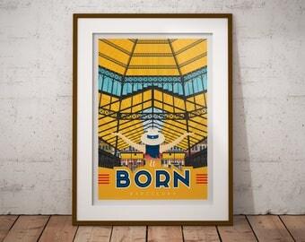 El Born Barcelona - Affiche Téléchargeable à imprimer - Vintage print, art murale, décoration d'intérieur, décoration murale, idée cadeau