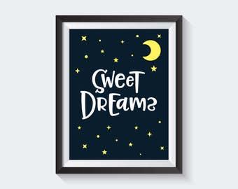 Sweet Dreams Nursery Print, Gender neutral Baby Wall Art, Digital Nursery Art, Colorful Nursery Decor, Printable Nursery Art, Baby Art Print