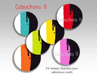 Digital images for round multicolor cabochons graphic