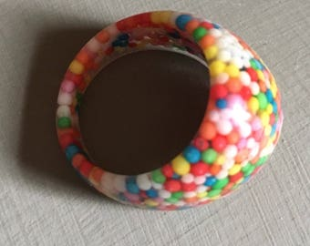 Resin Ring, Candy Sprinkles, Hundreds and Thousands, Rainbow Resin Ring