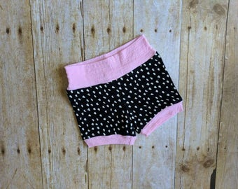 Baby girl knit shorts. 6 months.  Black and white.  Pink cuffs.  Dots.  Dollops.  Cute.  Fun.  Present.  Colorado handmade. Unique. Stretchy