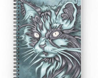 Spiral notebook for journal sketch zentangle - Blue Cat portrait painting