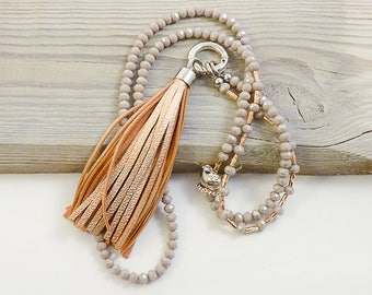 Leather tassel necklace rose gold sand grey Sparrow