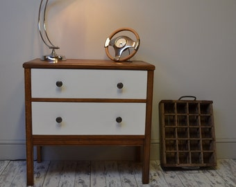 Retro white and natural wood 2 drawer chest