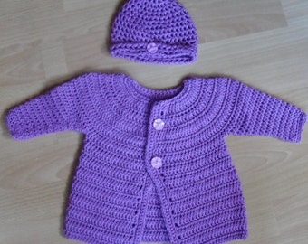 Baby jacket with Hat, crocheted for 0-6 months