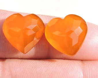 2 Pieces Extremely Beautiful Natural Mango Chalcedony Faceted Carved Heart Shaped Loose Gemstone Size 15X15 MM