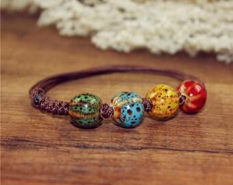 Handmade ceramic colorful bracelet