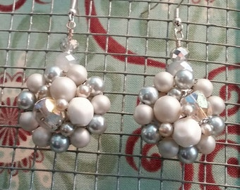 Upcycled Vintage Soft Gray Cluster Drop Earrings