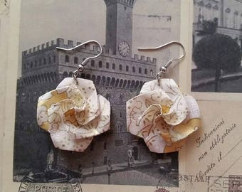 White and Gold Origami Flower Earrings