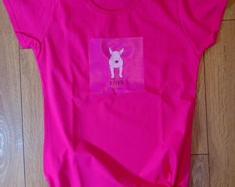 """Designer t-shirt """"Love is..."""" high quality 100% cotton pink tee fashion collection limited edition (men / women)"""