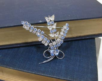Vintage D'OR Sterling Blue & Clear Crystal Brooch