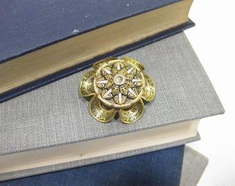 Vintage Gold Tone Damascene Brooch