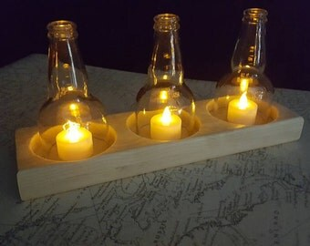Hand crafted triple votive tea light table decoration.