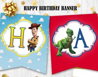 Toy Story Happy birthday banner Toy story bunting Birthday party decor