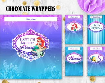 Little mermaid Pool Birthday party Chocolate wrappers Candy wrappers Mermaid Ariel wrappers
