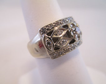 14K White Gold Vintage Pave Diamond Ring - Size 6.5 Estate Jewelry #5865