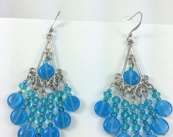 Aqua blue cat eye chandelier earrings #44