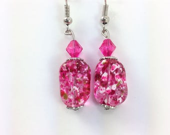 Pink confetti earrings #105