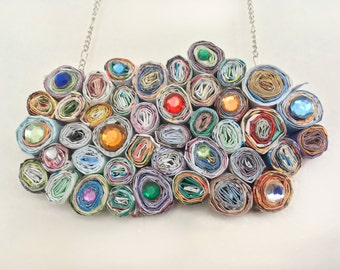 Paper necklace - bib necklace - handmade necklace - colorful necklace - unique jewelry - recycled jewelry - gift for her